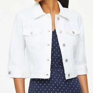 White crop loft jean jacket
